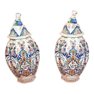18th Century Delft Polychrome Vases - a Pair For Sale
