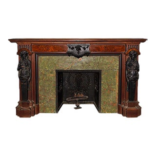 Mid 19th Century Greco Roman Revival Ebonized Wood and Hardwood Fireplace Mantel For Sale