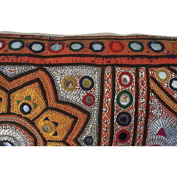 Indian Embroidered Metallic Body Pillow For Sale - Image 5 of 6