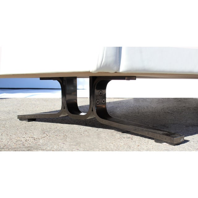 Over-Scale Poltona Frau 'Italy' Leather and Stainless Steel Sofa For Sale In Miami - Image 6 of 9