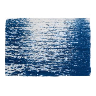 Abstract Ripples Under Moonlight, Nautical Blueprint on Watercolor For Sale