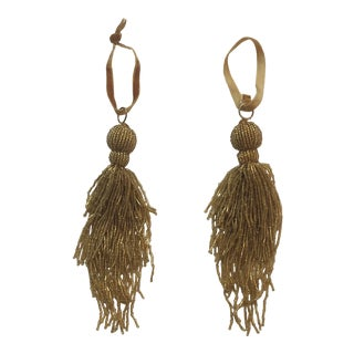 Gold Beads Holiday Tassels With a Faux Suede Hanger For Sale