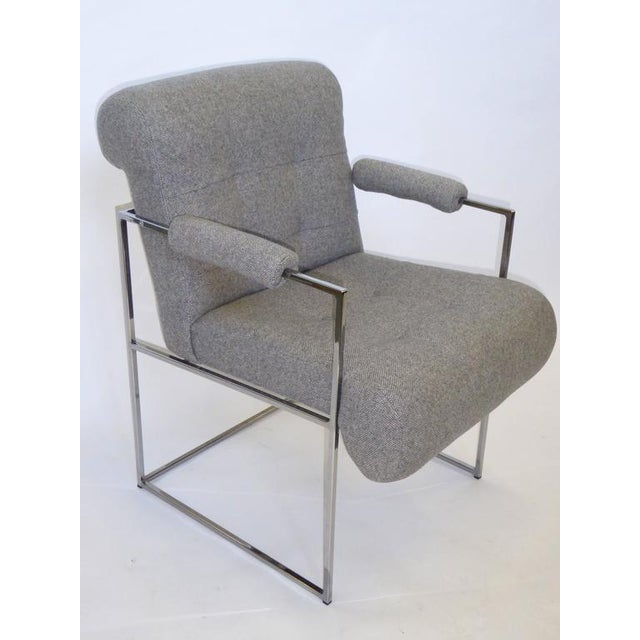 1980s Set of 8 Modern Milo Baughman Thin Line Armed Dining Chairs For Sale - Image 5 of 11