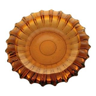 Mid Century Golden Sunburst Amber Glass Ashtray For Sale
