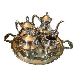 Vintage Sterling Silver Tea Service With Tray - Set of 5 For Sale