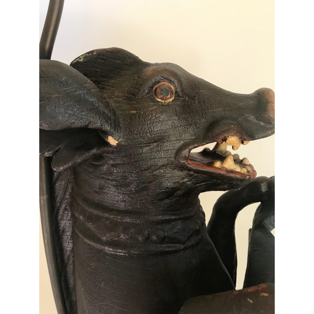 Antique Carved Wood Wild Boar Figure Holding a Painted Shield Lamp For Sale - Image 12 of 13