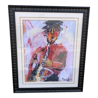 """""""Playing the Blues"""" Mid-Century Modern Original Signed Painting For Sale"""