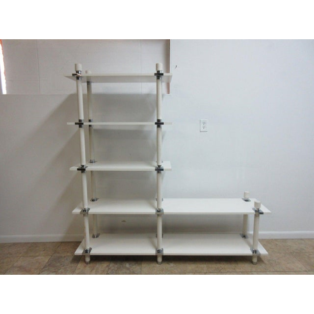 Vintage Mid Century White Chrome Bookshelf For Sale