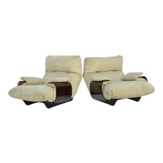 Michel Ducaroy 'Marsala' Ultrasuede & Bronze Lucite Lounge Chairs Roset - Pair For Sale