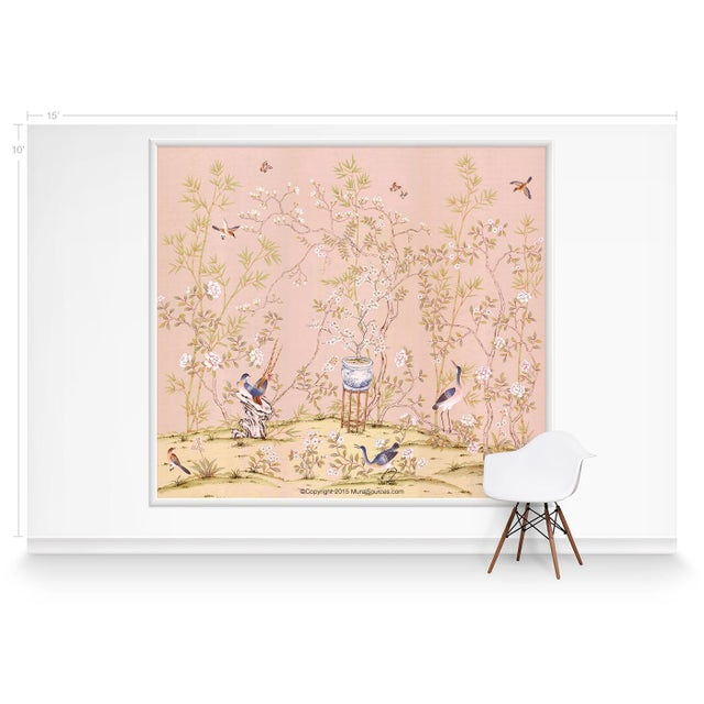 Chinoiserie Casa Cosima Rose Brighton Triptych Mural - Sample For Sale - Image 3 of 5