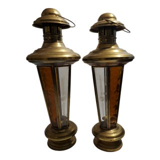 1960s Vintage Brass Lanterns With Etched Glass - a Pair For Sale