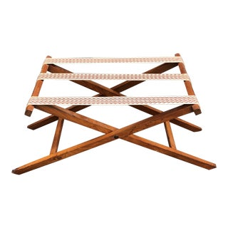 1940s Mid-Century Modern Folding Wood Luggage Rack Valet For Sale