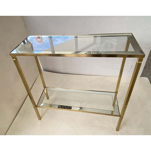 Mastercraft Mastercraft Style Brass Console Table For Sale - Image 4 of 13