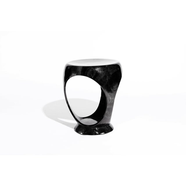 Ring Stool in Black Shagreen and Bronze-Patina Brass by R&y Augousti For Sale - Image 11 of 13