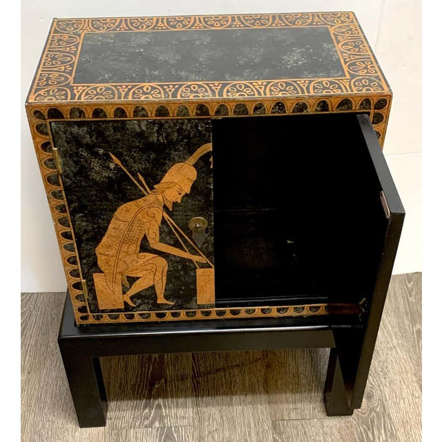 Wood Grand Tour Style Polychromed Greek Motif Cabinet on Stand For Sale - Image 7 of 13