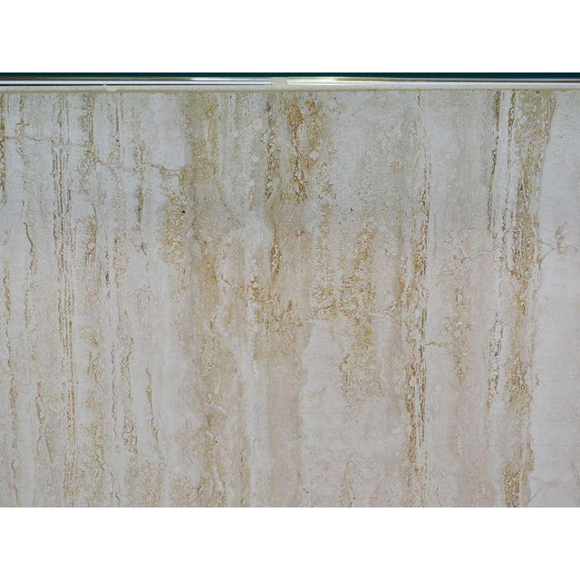 Italian Travertine and Glass Console Table by Ello For Sale - Image 9 of 11
