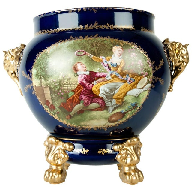 Vintage Pair Limoges Porcelain Jardiniere/Cache Pot For Sale In New York - Image 6 of 6