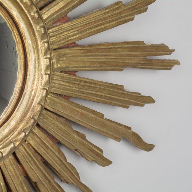 Vintage Mid-Century Italian Giltwood Sunburst Mirror For Sale - Image 4 of 8