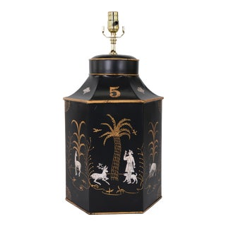 Late 20th Century Tea Caddy Lamp With Black Background and Gold-White Decorations For Sale
