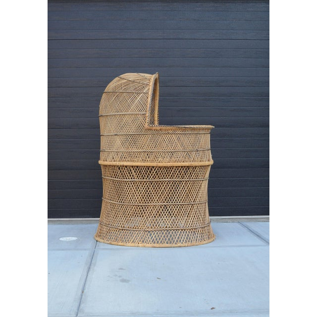 1970s Vintage Woven Wicker Freestanding Bassinet For Sale - Image 5 of 9