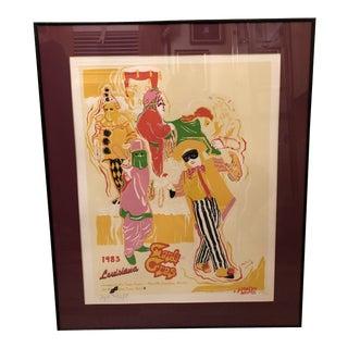 1982 Framed Phyllis Malczyk Weitzel Mardi Gras Serigraph Print For Sale