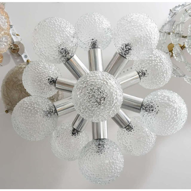 Chrome Polished Chrome and Bubble Glass Chandelier Modified Space-Age Style For Sale - Image 8 of 11