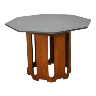 Harvey Probber Octagon Slate Top Walnut Center Dining Table