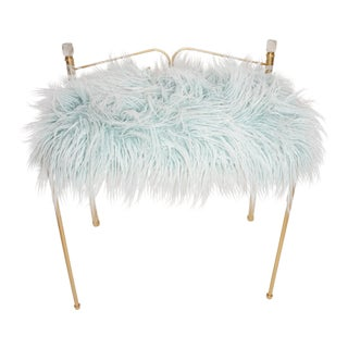 Vintage Vanity Bench | Gold Metal & Light Blue Faux Fur Boudoir Chair For Sale
