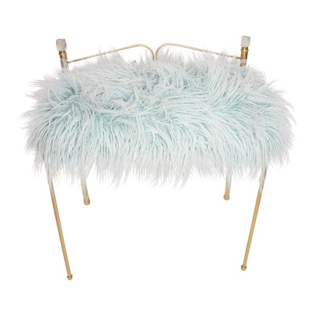 Vintage Vanity Bench | Gold Metal & Light Blue Faux Fur Boudoir Chair For Sale