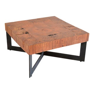 Square Wood Mosaic Coffee Table - Metal Base For Sale