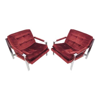 Pair of Milo Baughman Style Chrome Lounge Chairs By Cy Mann