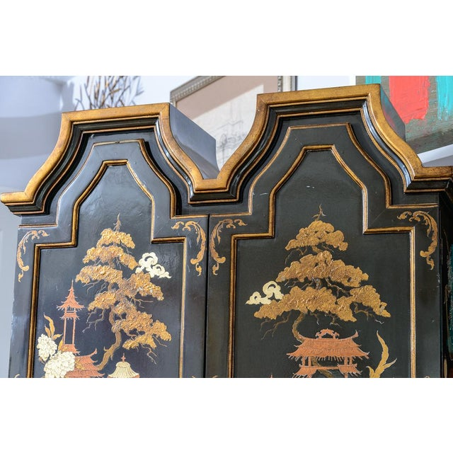 Asian Chinoiserie Chippendale Style Hunter Green & Gilt Lacquered Secretaire For Sale - Image 3 of 13
