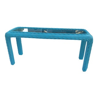 20th Century Aqua Blue Lacquered Rattan Sofa/Entry Table For Sale