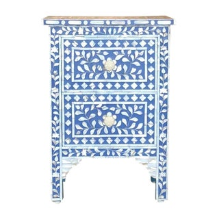 Moroccan Inspired Blue and White Bone Inlay Side Table For Sale