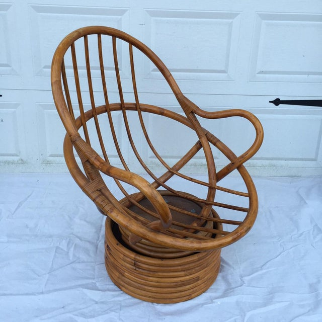 Boho Chic Vintage Bamboo Cocoon Swivel Chair For Sale - Image 3 of 8