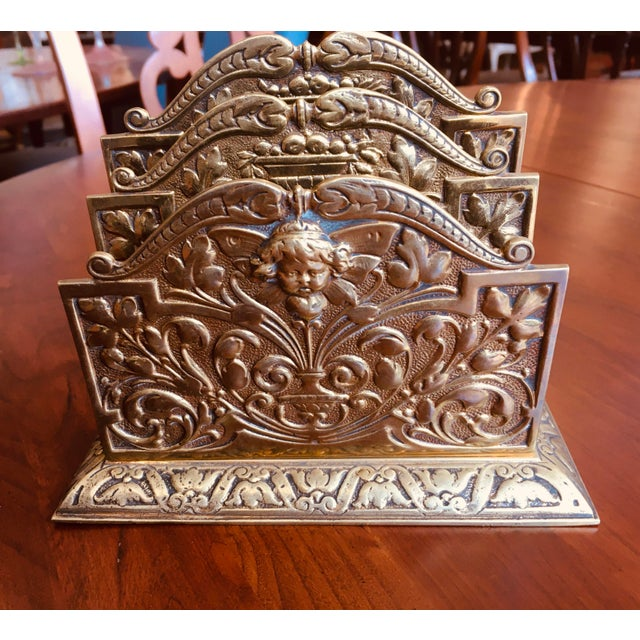 English Antique Brass Three Slot Letter Holder For Sale - Image 3 of 7