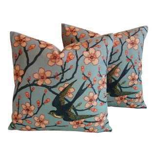 Magnolia Blossoms/Swallow Down & Feather Pillows - a Pair For Sale