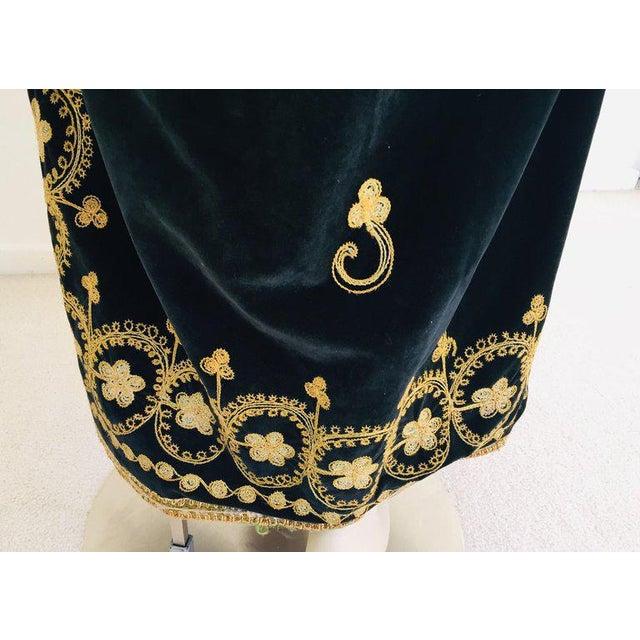 Vintage Caftan, Black Velvet and Gold Embroidered, 1960s For Sale - Image 9 of 13