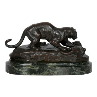 """Bronze Sculpture of """"Panther Attacking Civet Cat"""" by Antoine-Louis Barye For Sale"""