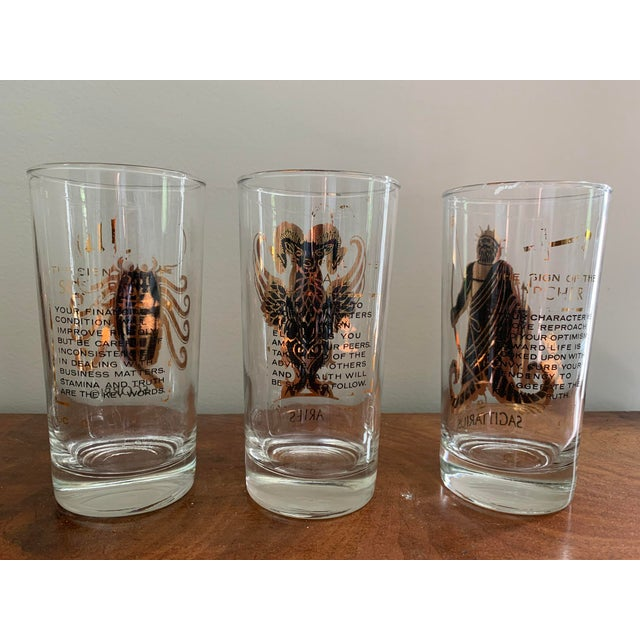 Vintage Zodiac Tall Glasses - Set of 6 For Sale In Washington DC - Image 6 of 10