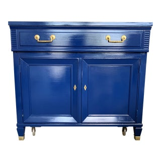 20th Century Hollywood Regency Navy Blue Lacquered Bar Cabinet For Sale