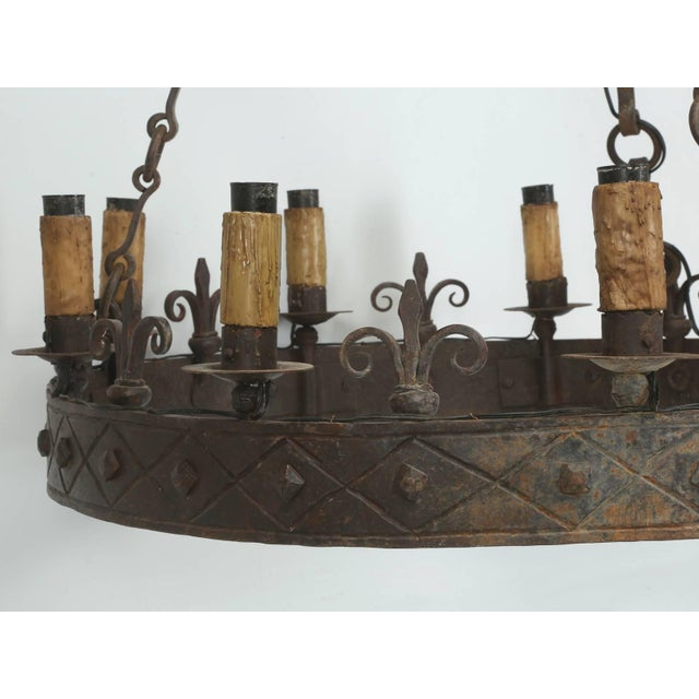 Antique French Hand-Forged Iron Chandelier, Circa 1900 For Sale In Chicago - Image 6 of 10