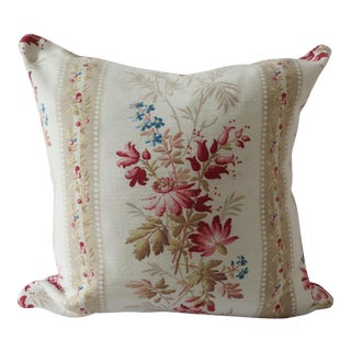 19th Century French Floral & Homespun Linen Kelsch Pillow Cover For Sale