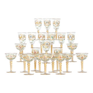 Enameled Venetian Glass Stemware / 23 Piece Group For Sale