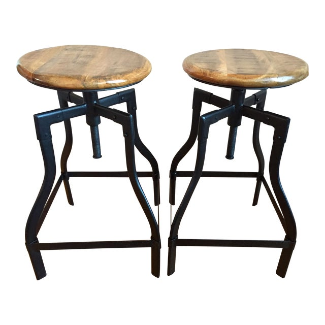 Industrial/Rustic Adjustable Height Swivel Bar Stools - a Pair - Image 1 of 4