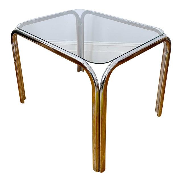Vintage 1970s Modern Milo Baughman Style Tubular Chrome Side Table For Sale
