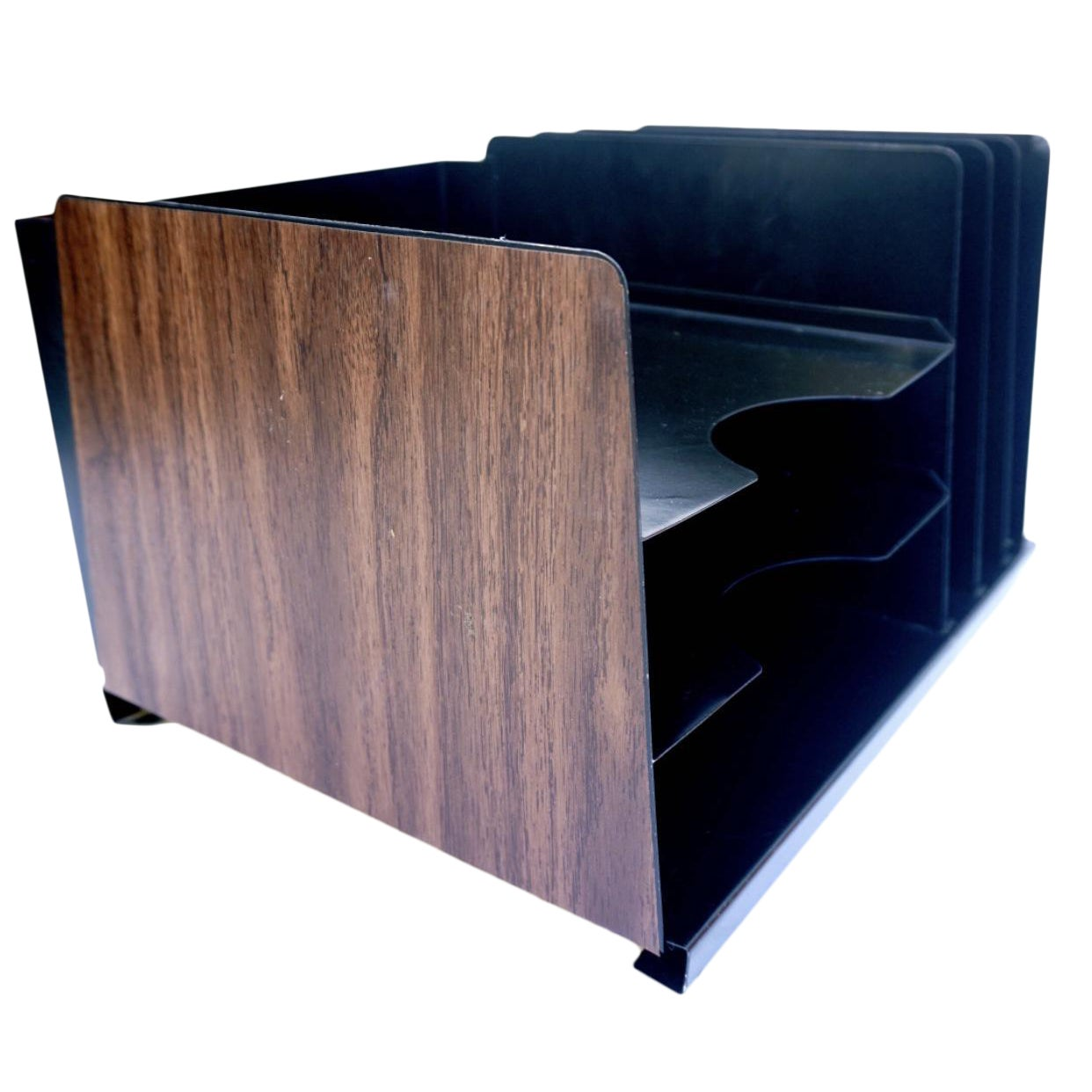 Mid Century Steelcase Faux Bois Desk Organizer File Rack Mail Sorter Chairish