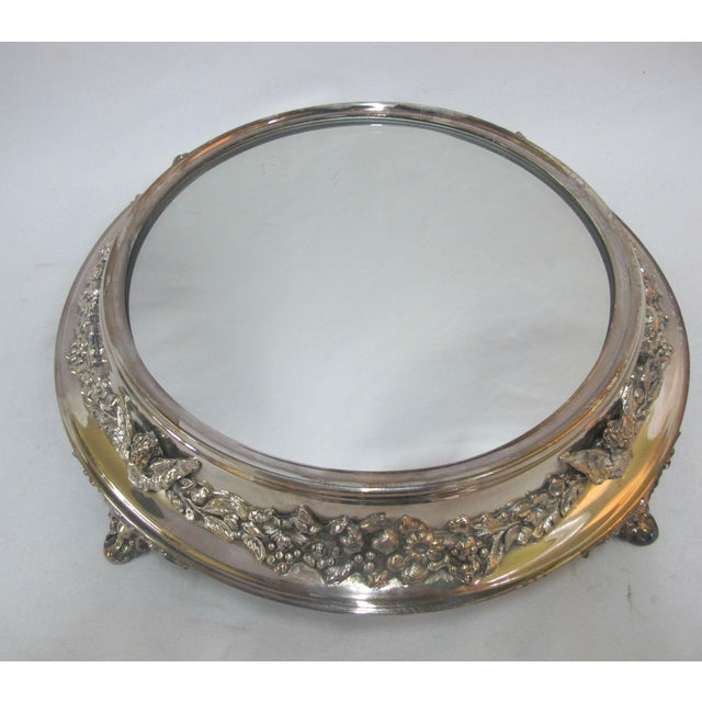 Art Nouveau Antique Silverplate Round Mirror Tray With High Relief Cherub Floral Design For Sale - Image 3 of 7