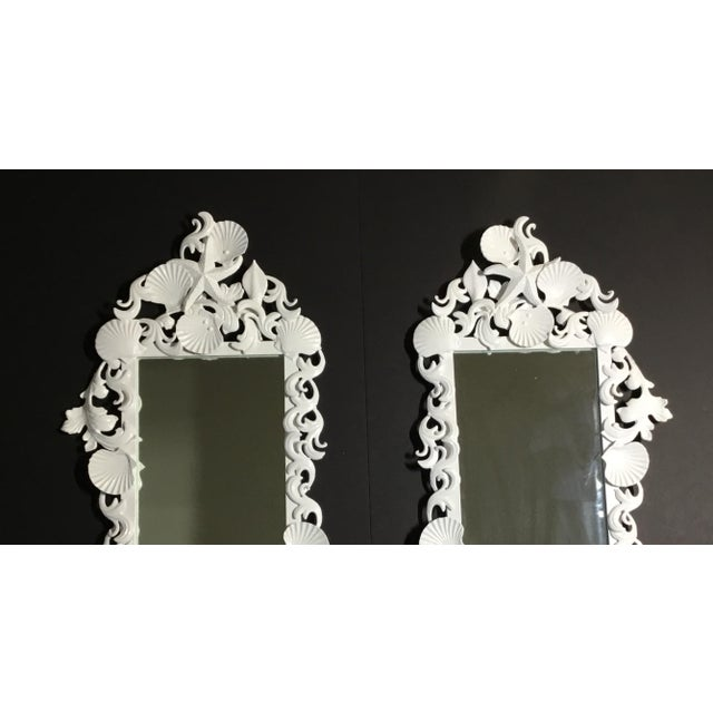 2010s White Sea Shell Mirrors - a Pair For Sale - Image 5 of 13