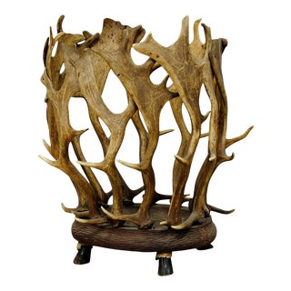 Rare Cabin Decor Antler Basket For Sale